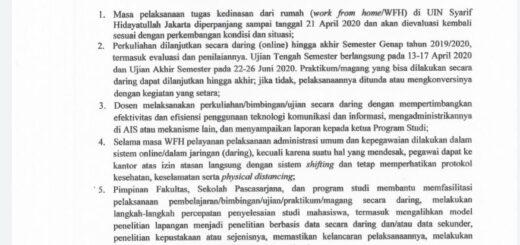 Surat Edaran Rektor UIN Jakartayang diterima Pegawai FDIKOM